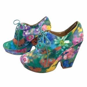 Ecote Floral Funk Chunky Heel Lace Up Ankle Bootie size 7 Multi Color